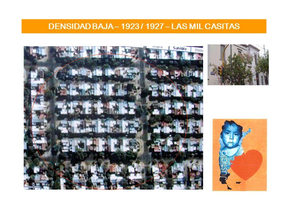DENSIDAD MEDIA – 1928 - Casa colectiva Barrio Los Andes Concepción Arenal, Guzmán, Leiva, Rodney – Chacarita Superficie del terreno: 13.188 m2 Total Construido 23.100 m2 Densidad: 775 hab / ha Tipologia Edificio con parque interno y basamento perimetral