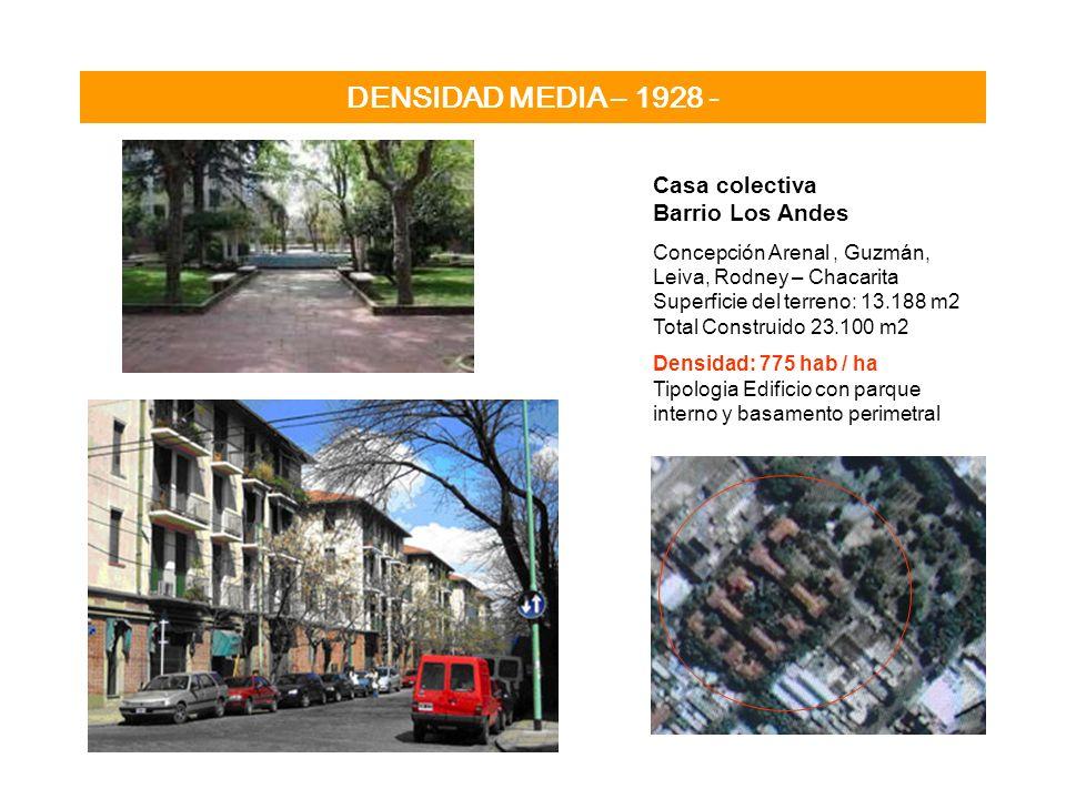 DENSIDAD MEDIA – 1928 - Casa colectiva Barrio Los Andes Concepción Arenal, Guzmán, Leiva, Rodney – Chacarita Superficie del terreno: 13.188 m2 Total C