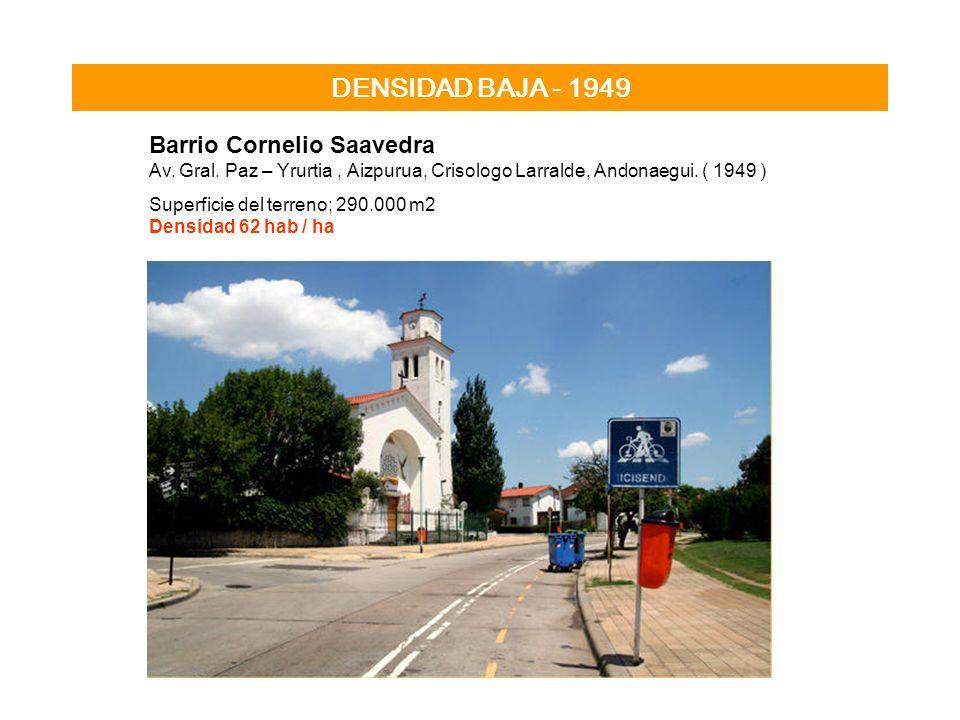 DENSIDAD BAJA - 1949 Barrio Cornelio Saavedra Av. Gral. Paz – Yrurtia, Aizpurua, Crisologo Larralde, Andonaegui. ( 1949 ) Superficie del terreno; 290.