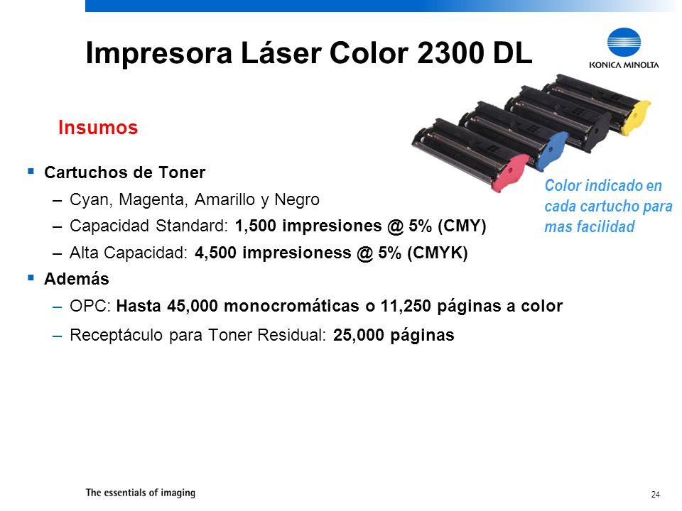 24 Impresora Láser Color 2300 DL Cartuchos de Toner –Cyan, Magenta, Amarillo y Negro –Capacidad Standard: 1,500 impresiones @ 5% (CMY) –Alta Capacidad: 4,500 impresioness @ 5% (CMYK) Además –OPC: Hasta 45,000 monocromáticas o 11,250 páginas a color –Receptáculo para Toner Residual: 25,000 páginas Insumos Color indicado en cada cartucho para mas facilidad