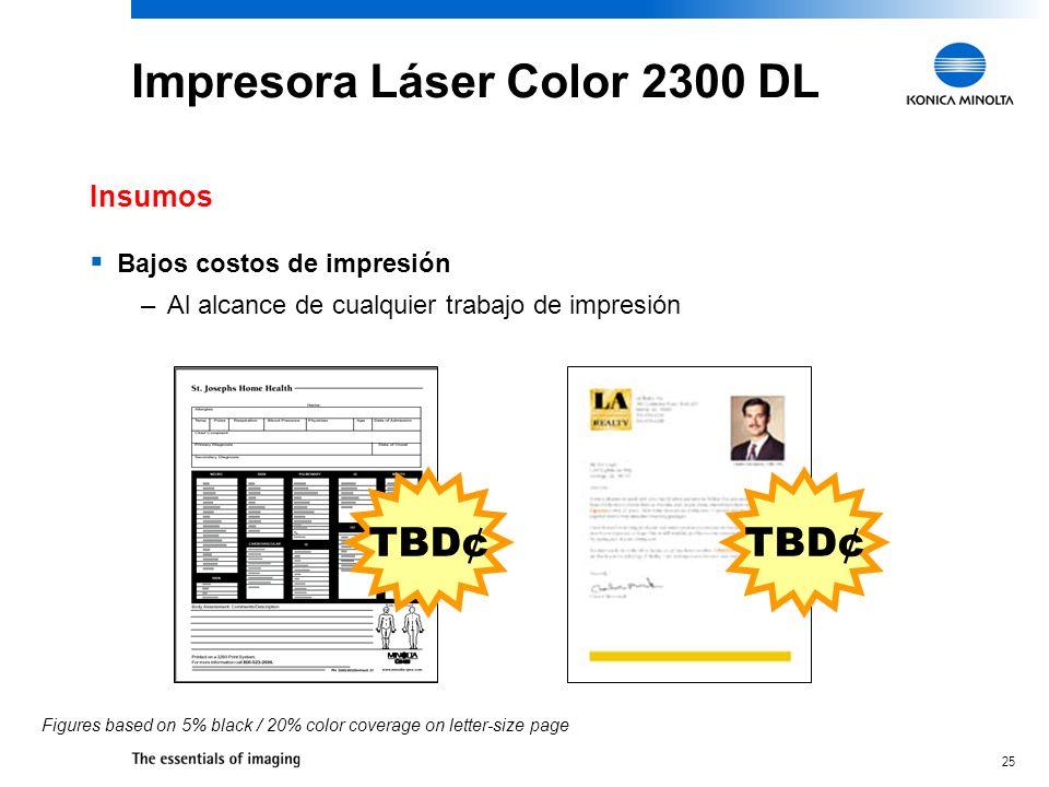 25 Impresora Láser Color 2300 DL Bajos costos de impresión –Al alcance de cualquier trabajo de impresión Insumos TBD¢ Figures based on 5% black / 20% color coverage on letter-size page TBD¢