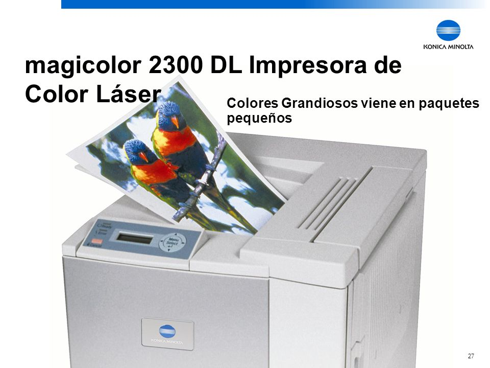 27 magicolor 2300 DL Impresora de Color Láser Colores Grandiosos viene en paquetes pequeños