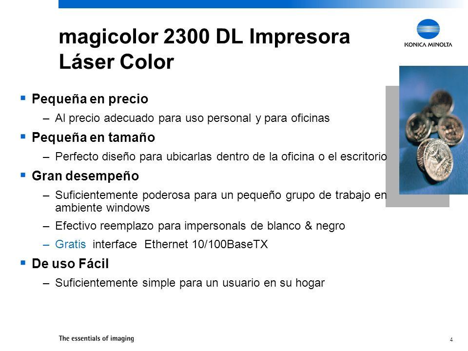 15 Impresora Láser Color 2300 DL Incorpora Webpages PageScope Light –Para status y configuración Compatible con software de administración en red PageScope Drivers para Windows XP/2000/NT4/Me/98/95 Controladora : Administración de Impresión