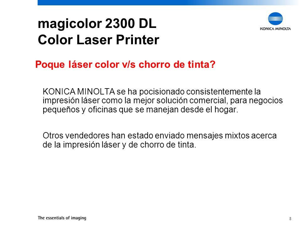 19 Impresora Láser Color 2300 DL Administración de papel Soporta una variedad de media –Papel, transparencias, etiquetas, glossy stock, stock gruso, sobres Soporta una variedad de pesos de papel –16 - 24 lb.