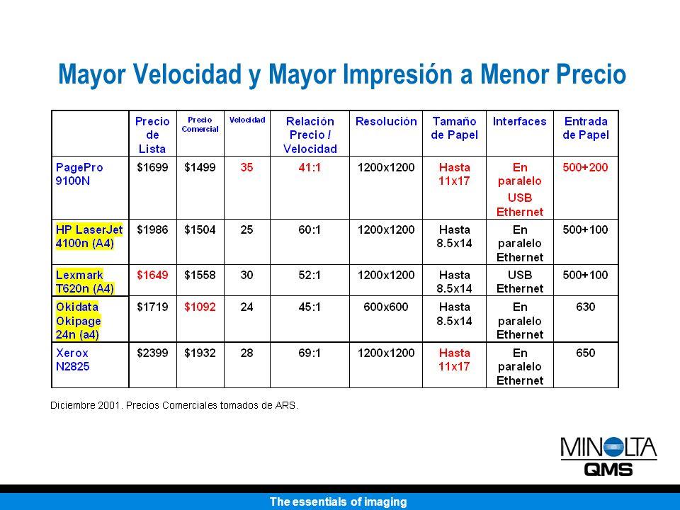 The essentials of imaging Mayor Velocidad y Mayor Impresión a Menor Precio