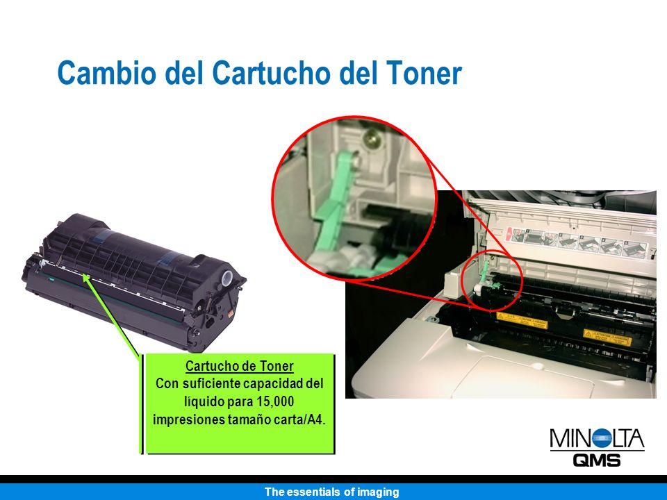 The essentials of imaging Cambio del Cartucho del Toner Cartucho de Toner Con suficiente capacidad del líquido para 15,000 impresiones tamaño carta/A4.