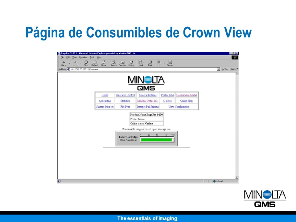 The essentials of imaging Página de Consumibles de Crown View