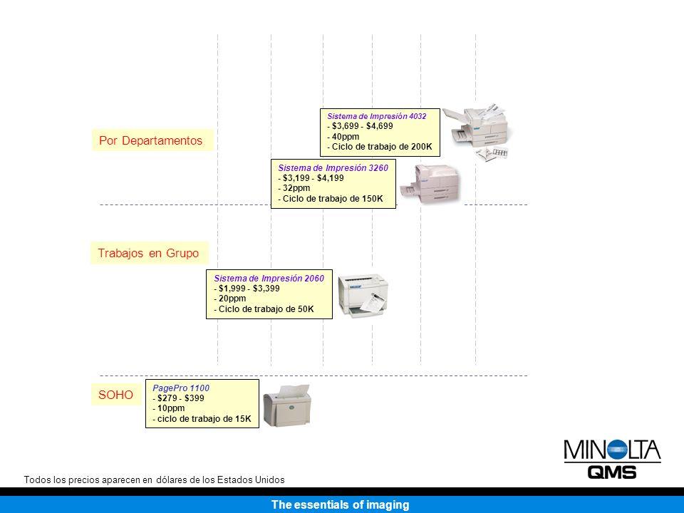 The essentials of imaging Por Departamentos Sistema de Impresión 4032 - $3,699 - $4,699 - 40ppm - Ciclo de trabajo de 200K Sistema de Impresión 3260 - $3,199 - $4,199 - 32ppm - Ciclo de trabajo de 150K Trabajos en Grupo Sistema de Impresión 2060 - $1,999 - $3,399 - 20ppm - Ciclo de trabajo de 50K SOHO PagePro 1100 - $279 - $399 - 10ppm - ciclo de trabajo de 15K Todos los precios aparecen en dólares de los Estados Unidos