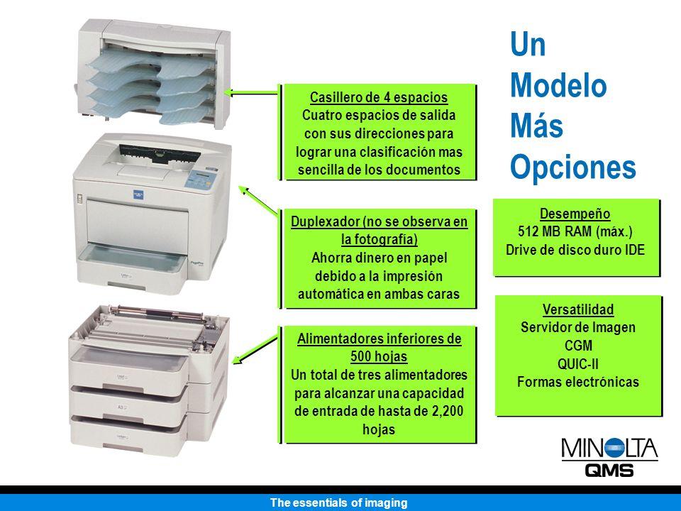The essentials of imaging Calidad de Impresión Resolución de 1200 x 1200 dpi (tamaño carta/A4) Aumenta la memoria hasta 96MB para impresiones ledger/A3 de 1200 x 1200 No hay disminución en la velocidad de impresión a 1200 dpi