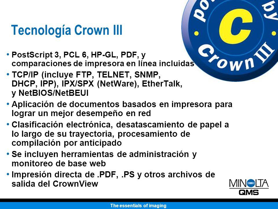 The essentials of imaging Tecnología Crown III PostScript 3, PCL 6, HP-GL, PDF, y comparaciones de impresora en línea incluidas TCP/IP (incluye FTP, TELNET, SNMP, DHCP, IPP), IPX/SPX (NetWare), EtherTalk, y NetBIOS/NetBEUI Aplicación de documentos basados en impresora para lograr un mejor desempeño en red Clasificación electrónica, desatascamiento de papel a lo largo de su trayectoria, procesamiento de compilación por anticipado Se incluyen herramientas de administración y monitoreo de base web Impresión directa de.PDF,.PS y otros archivos de salida del CrownView