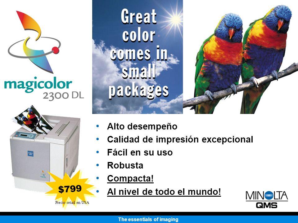 The essentials of imaging Impresora Láser Color 2300 DL MQI magicolor 2300 DL 4,259 pulgadas cúbicas HP Color LaserJet 4550 6,795 pulgadas cúbicas 37% más pequeña en volumen que HP