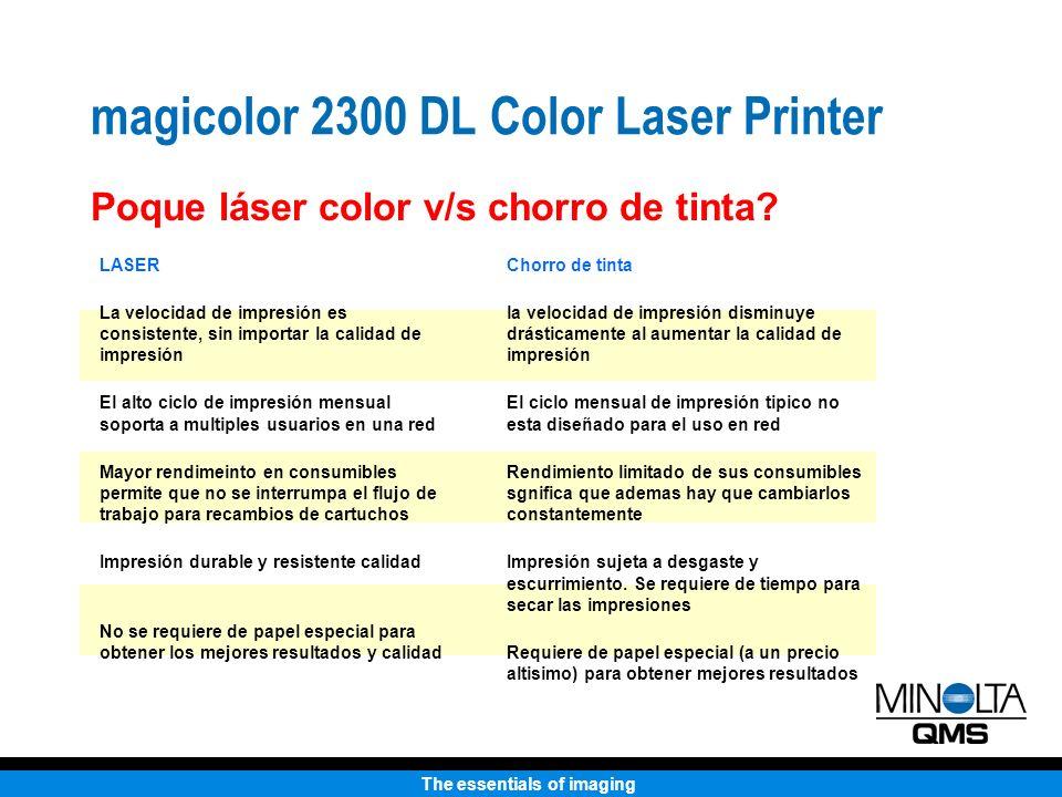 The essentials of imaging Impresora Láser Color 2300 DL Peso 55 lbs.