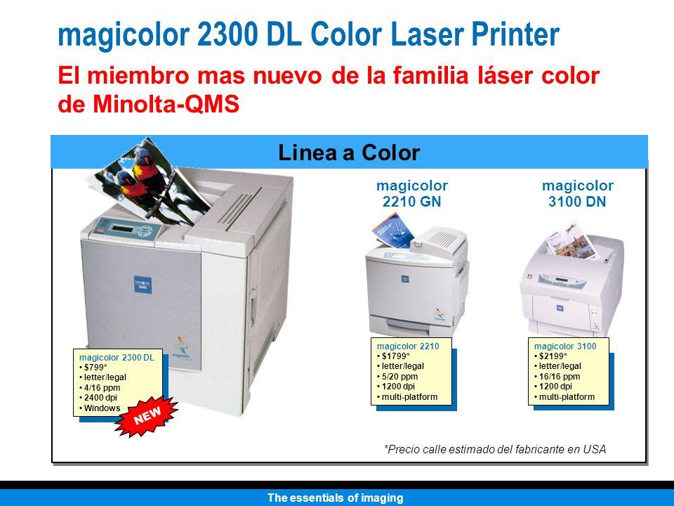 The essentials of imaging Impresora Láser Color 2300 DL Cartuchos de Toner Cyan, Magenta, Amarillo y Negro Capacidad Standard: 1,500 impresiones @ 5% (CMY) Alta Capacidad: 4,500 impresioness @ 5% (CMYK) Más OPC: Hasta 45,000 monocromáticas o 11,250 páginas a color Receptáculo para Toner Residual: 25,000 páginas Insumos Color indicado en cada cartucho para mas facilidad