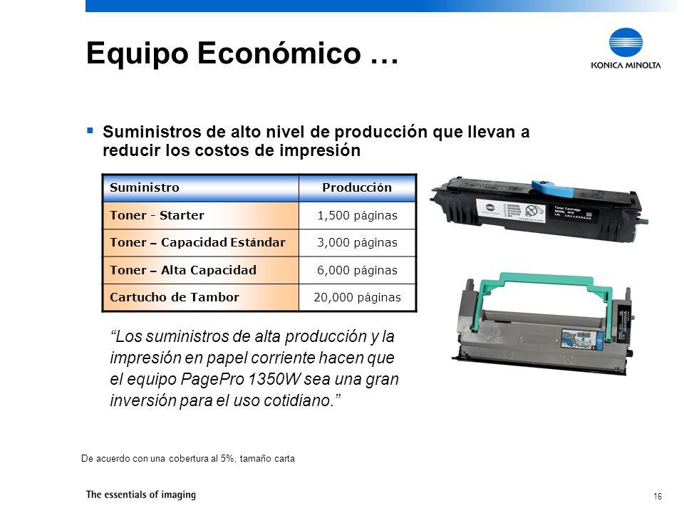 16 Equipo Económico … Suministros de alto nivel de producción que llevan a reducir los costos de impresión SuministroProducci ó n Toner - Starter1,500 p á ginas Toner – Capacidad Est á ndar3,000 p á ginas Toner – Alta Capacidad6,000 p á ginas Cartucho de Tambor20,000 p á ginas Los suministros de alta producción y la impresión en papel corriente hacen que el equipo PagePro 1350W sea una gran inversión para el uso cotidiano.