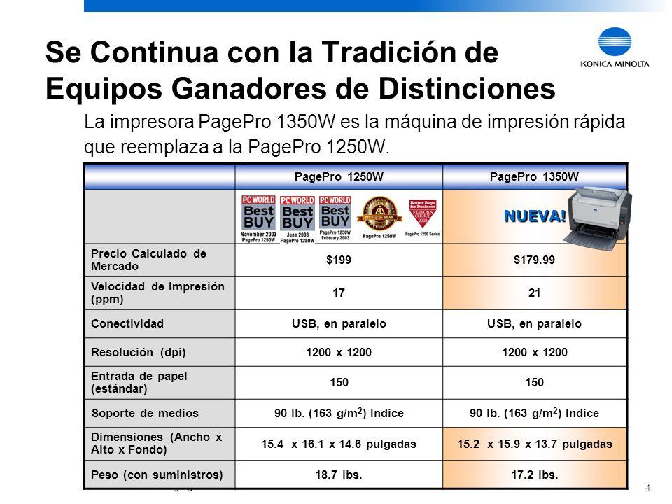 4 Se Continua con la Tradición de Equipos Ganadores de Distinciones PagePro 1250WPagePro 1350W NUEVA.