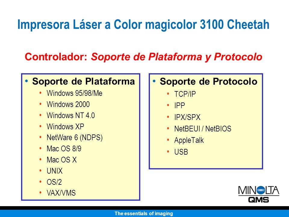 The essentials of imaging Soporte de Protocolo TCP/IP IPP IPX/SPX NetBEUI / NetBIOS AppleTalk USB Controlador: Soporte de Plataforma y Protocolo Sopor
