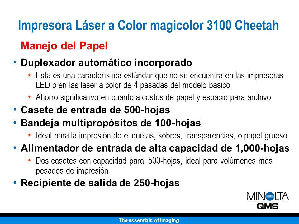 The essentials of imaging Manejo del Papel Duplexador automático incorporado Esta es una característica estándar que no se encuentra en las impresoras