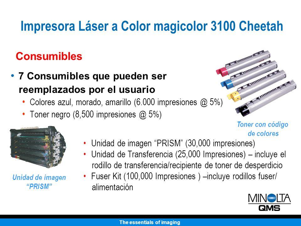 The essentials of imaging Consumibles 7 Consumibles que pueden ser reemplazados por el usuario Colores azul, morado, amarillo (6.000 impresiones @ 5%)