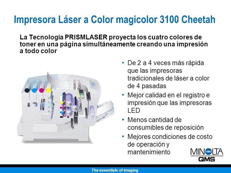 The essentials of imaging La Tecnología PRISMLASER proyecta los cuatro colores de toner en una página simultáneamente creando una impresión a todo col