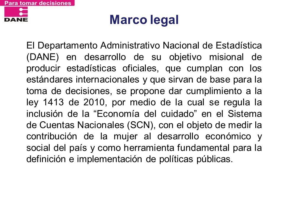 Marco legal El Departamento Administrativo Nacional de Estadística (DANE) en desarrollo de su objetivo misional de producir estadísticas oficiales, qu