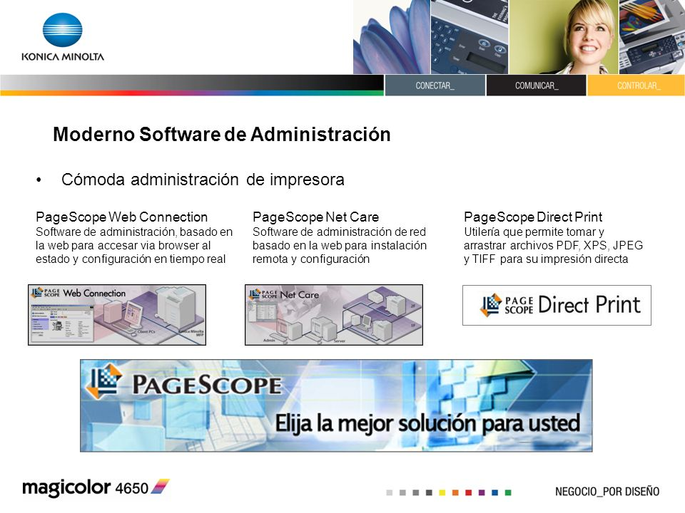 Moderno Software de Administración Cómoda administración de impresora PageScope Web Connection Software de administración, basado en la web para acces