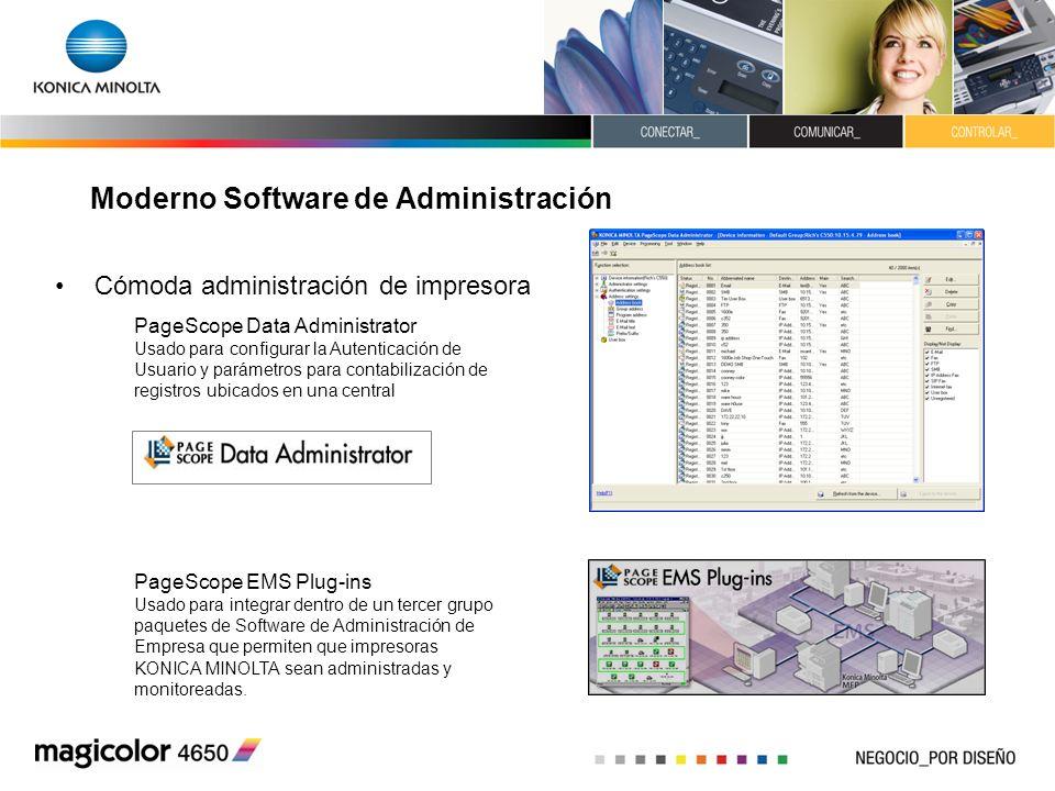 Moderno Software de Administración Cómoda administración de impresora PageScope Data Administrator Usado para configurar la Autenticación de Usuario y