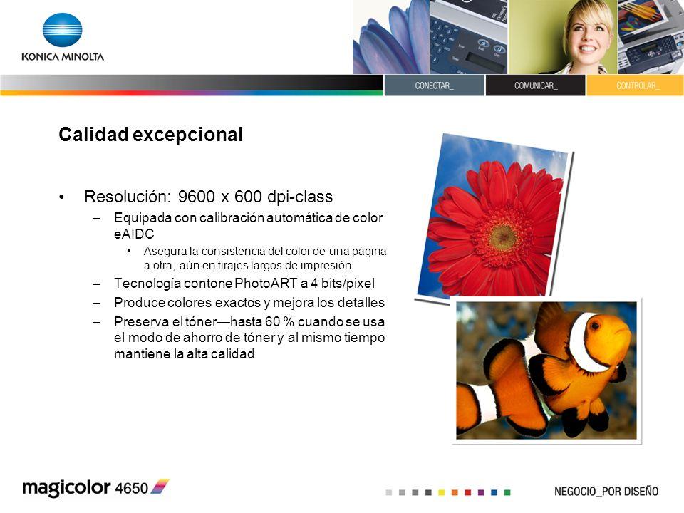 Calidad excepcional Resolución: 9600 x 600 dpi-class –Equipada con calibración automática de color eAIDC Asegura la consistencia del color de una pági