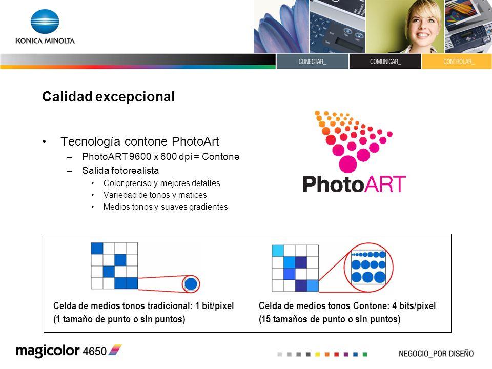 Calidad excepcional Tecnología contone PhotoArt –PhotoART 9600 x 600 dpi = Contone –Salida fotorealista Color preciso y mejores detalles Variedad de t