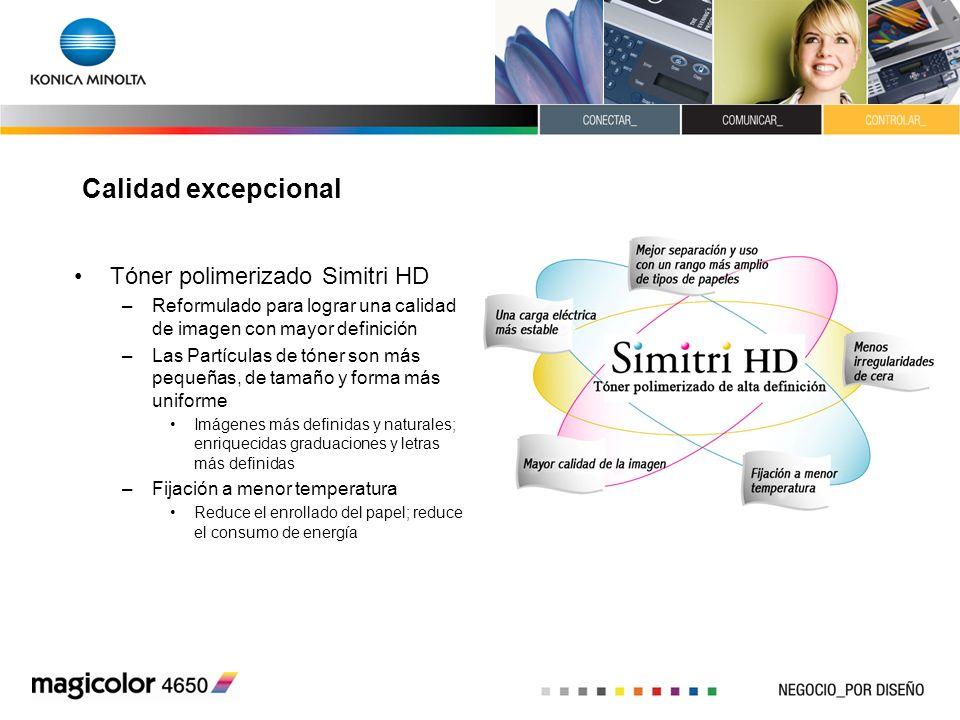 Calidad excepcional Tóner polimerizado Simitri HD –Reformulado para lograr una calidad de imagen con mayor definición –Las Partículas de tóner son más