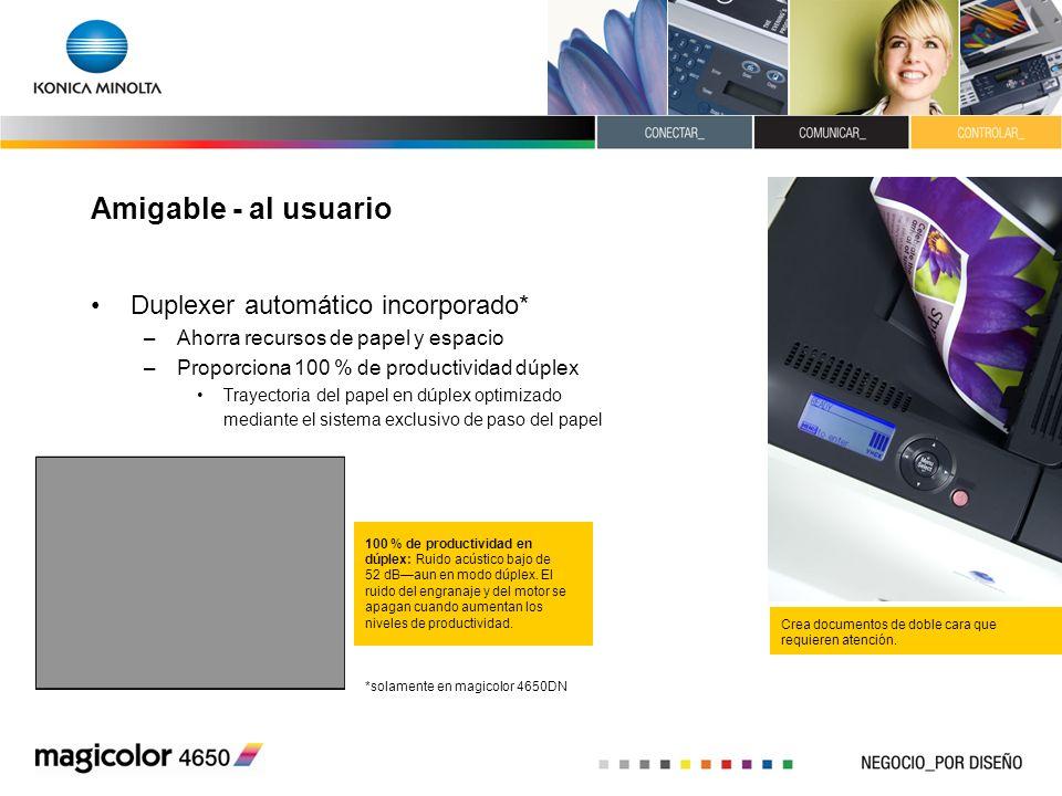 Amigable - al usuario Duplexer automático incorporado* –Ahorra recursos de papel y espacio –Proporciona 100 % de productividad dúplex Trayectoria del
