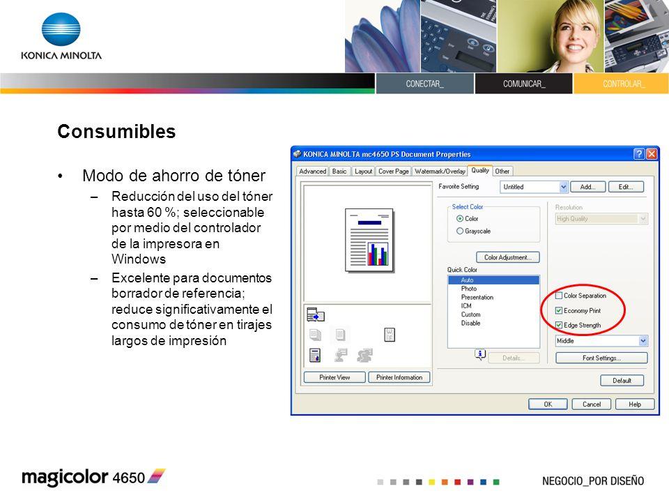 Consumibles Modo de ahorro de tóner –Reducción del uso del tóner hasta 60 %; seleccionable por medio del controlador de la impresora en Windows –Excel
