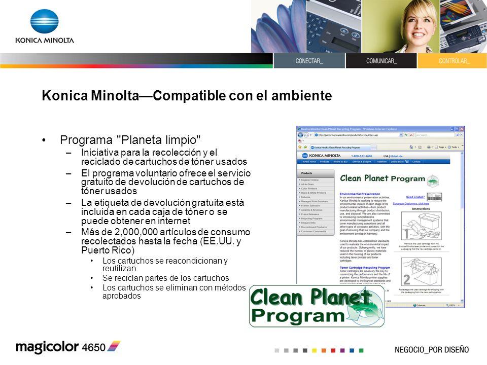 Konica MinoltaCompatible con el ambiente Programa