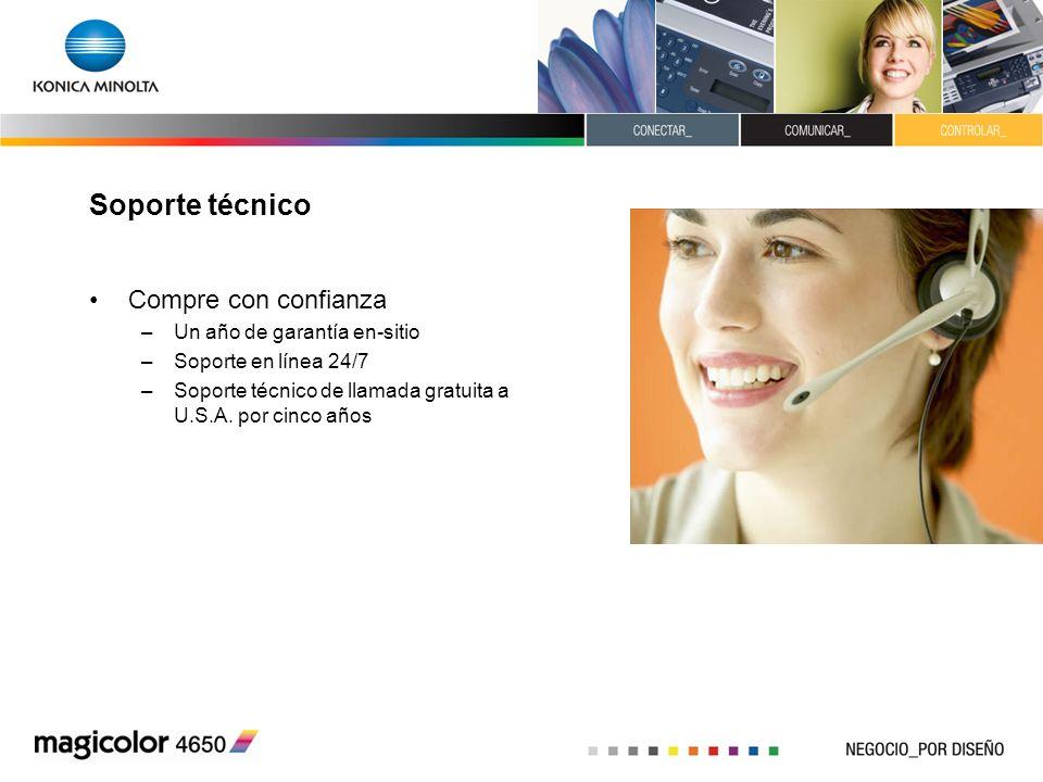 Soporte técnico Compre con confianza –Un año de garantía en-sitio –Soporte en línea 24/7 –Soporte técnico de llamada gratuita a U.S.A. por cinco años