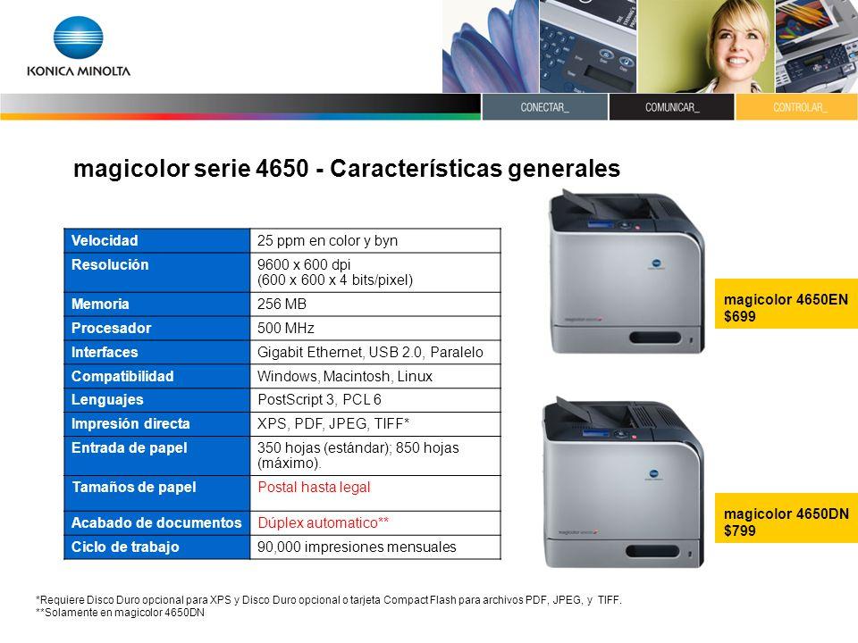 magicolor serie 4650 - Características generales Velocidad25 ppm en color y byn Resolución9600 x 600 dpi (600 x 600 x 4 bits/pixel) Memoria256 MB Proc