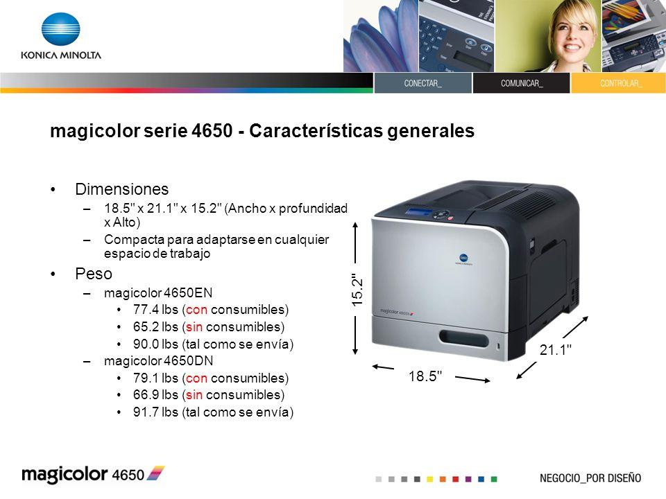 magicolor serie 4650 - Características generales Dimensiones –18.5