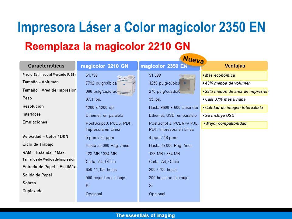 The essentials of imaging Reemplaza la magicolor 2210 GN Precio Estimado al Mercado (US$) Tamaño - Volumen Tamaño - Area de Impresión Peso Resolución