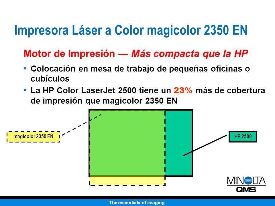 The essentials of imaging HP 2500 magicolor 2350 EN Motor de Impresión Más compacta que la HP Colocación en mesa de trabajo de pequeñas oficinas o cub