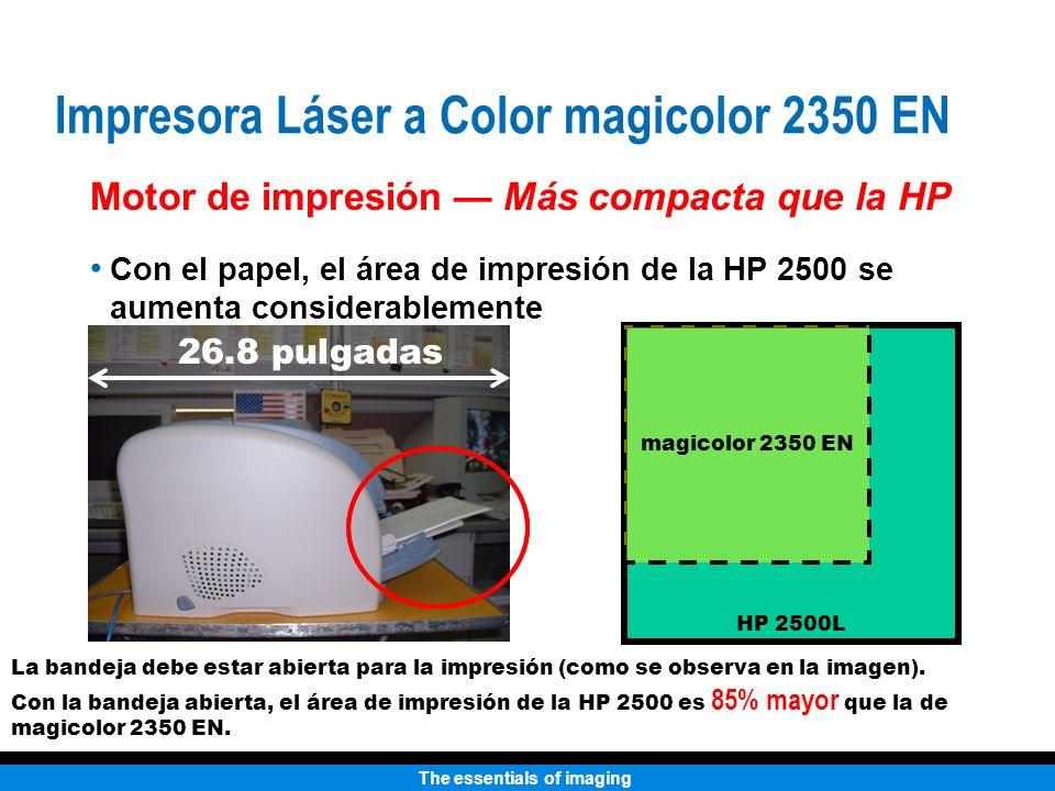 The essentials of imaging Con el papel, el área de impresión de la HP 2500 se aumenta considerablemente 26.8 pulgadas HP 2500L magicolor 2350 EN Motor