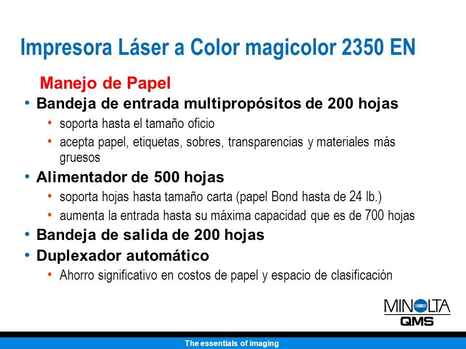 The essentials of imaging Manejo de Papel Bandeja de entrada multipropósitos de 200 hojas soporta hasta el tamaño oficio acepta papel, etiquetas, sobr