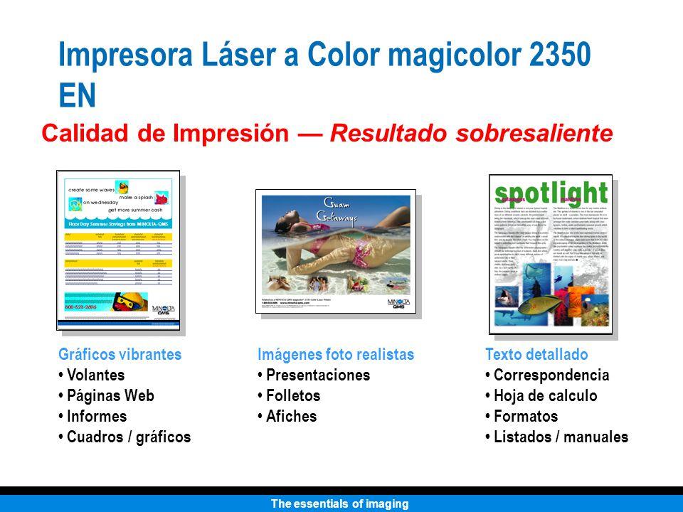 The essentials of imaging Impresora Láser a Color magicolor 2350 EN Calidad de Impresión Resultado sobresaliente Imágenes foto realistas Presentacione