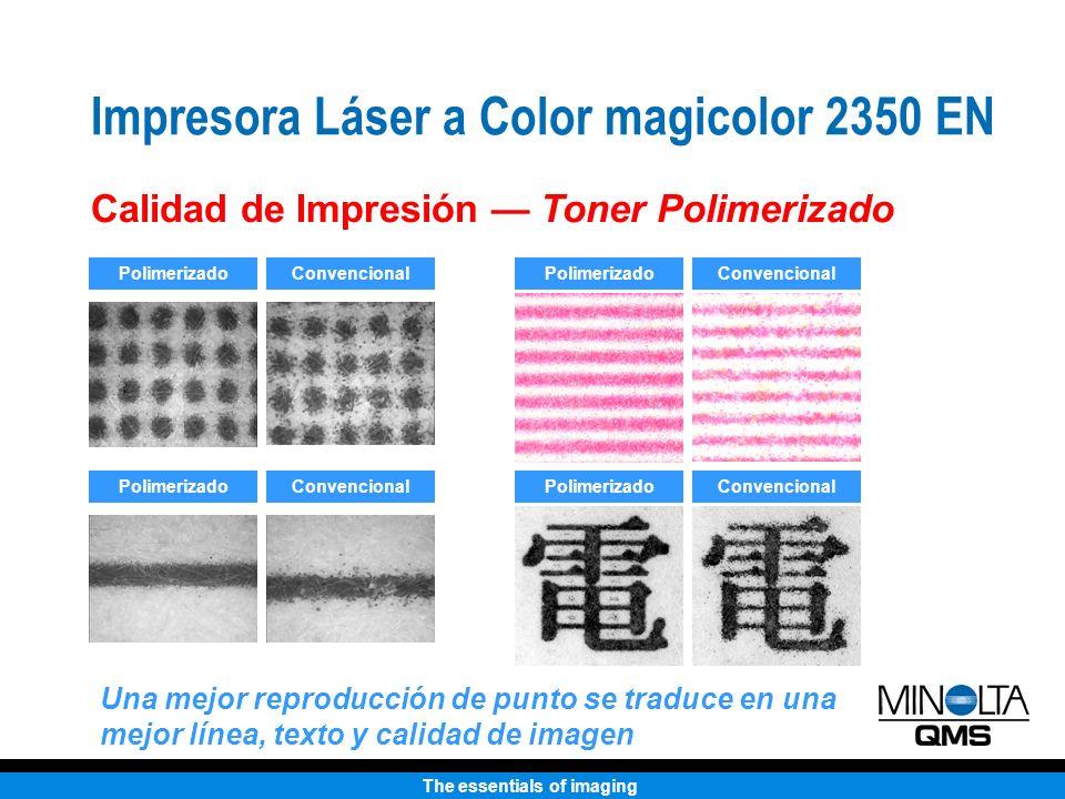 The essentials of imaging Impresora Láser a Color magicolor 2350 EN Calidad de Impresión Toner Polimerizado PolimerizadoConvencional PolimerizadoConve
