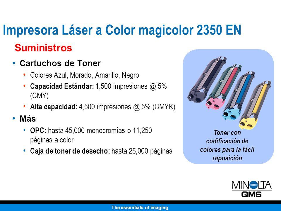 The essentials of imaging Cartuchos de Toner Colores Azul, Morado, Amarillo, Negro Capacidad Estándar: 1,500 impresiones @ 5% (CMY) Alta capacidad: 4,