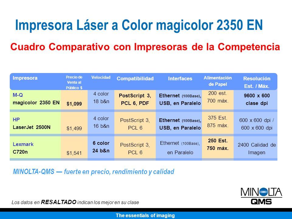 The essentials of imaging Cuadro Comparativo con Impresoras de la Competencia Los datos en RESALTADO indican los mejor en su clase Impresora M-Q magic