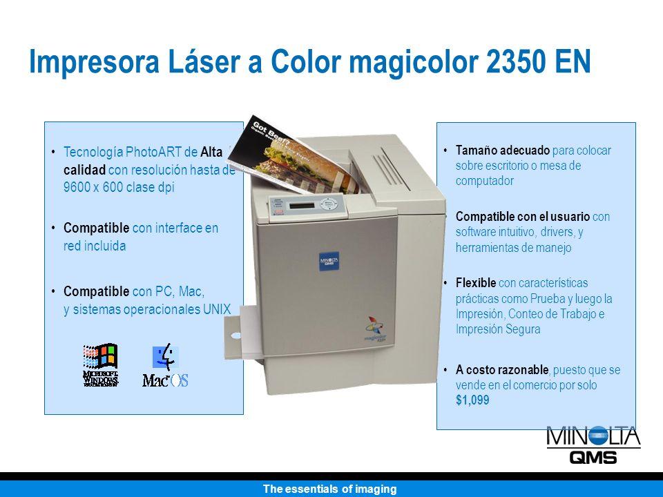 The essentials of imaging Con el papel, el área de impresión de la HP 2500 se aumenta considerablemente 26.8 pulgadas HP 2500L magicolor 2350 EN Motor de impresión Más compacta que la HP La bandeja debe estar abierta para la impresión (como se observa en la imagen).