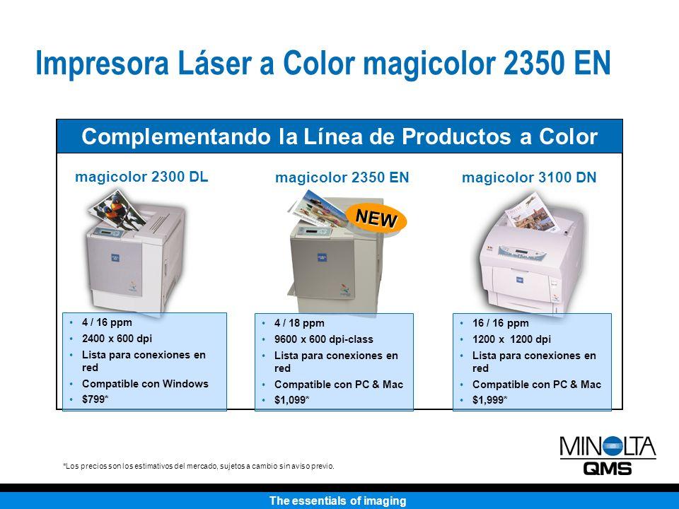The essentials of imaging Cartuchos de Toner Colores Azul, Morado, Amarillo, Negro Capacidad Estándar: 1,500 impresiones @ 5% (CMY) Alta capacidad: 4,500 impresiones @ 5% (CMYK) Más OPC: hasta 45,000 monocromías o 11,250 páginas a color Caja de toner de desecho: hasta 25,000 páginas Suministros Toner con codificación de colores para la fácil reposición Impresora Láser a Color magicolor 2350 EN