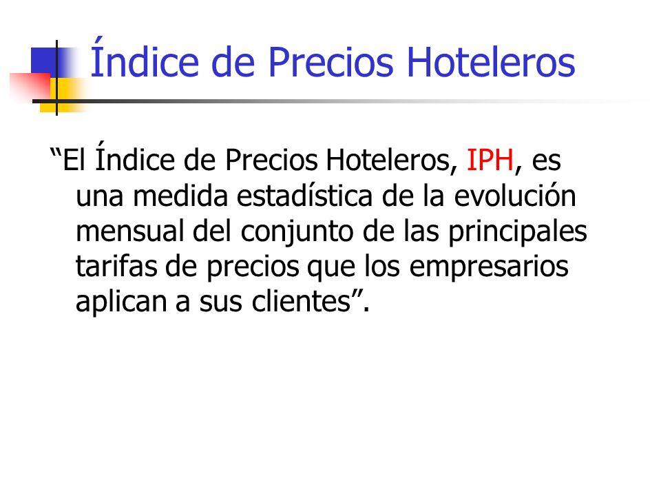 Índice de Precios Hoteleros El Índice de Precios Hoteleros, IPH, es una medida estadística de la evolución mensual del conjunto de las principales tar