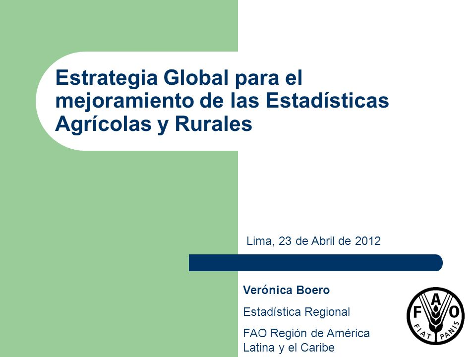 Estrategia Global para el mejoramiento de las Estadísticas Agrícolas y Rurales Verónica Boero Estadística Regional FAO Región de América Latina y el C
