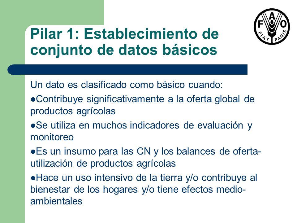Pilar 1: Establecimiento de conjunto de datos básicos Un dato es clasificado como básico cuando: Contribuye significativamente a la oferta global de p