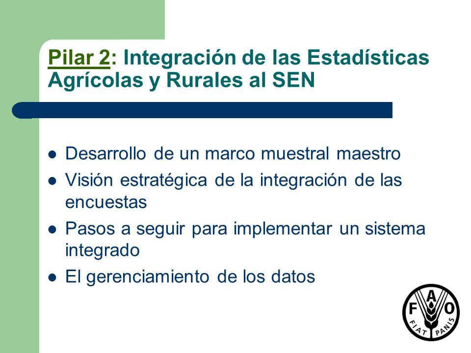 Pilar 2: Integración de las Estadísticas Agrícolas y Rurales al SEN Desarrollo de un marco muestral maestro Visión estratégica de la integración de la