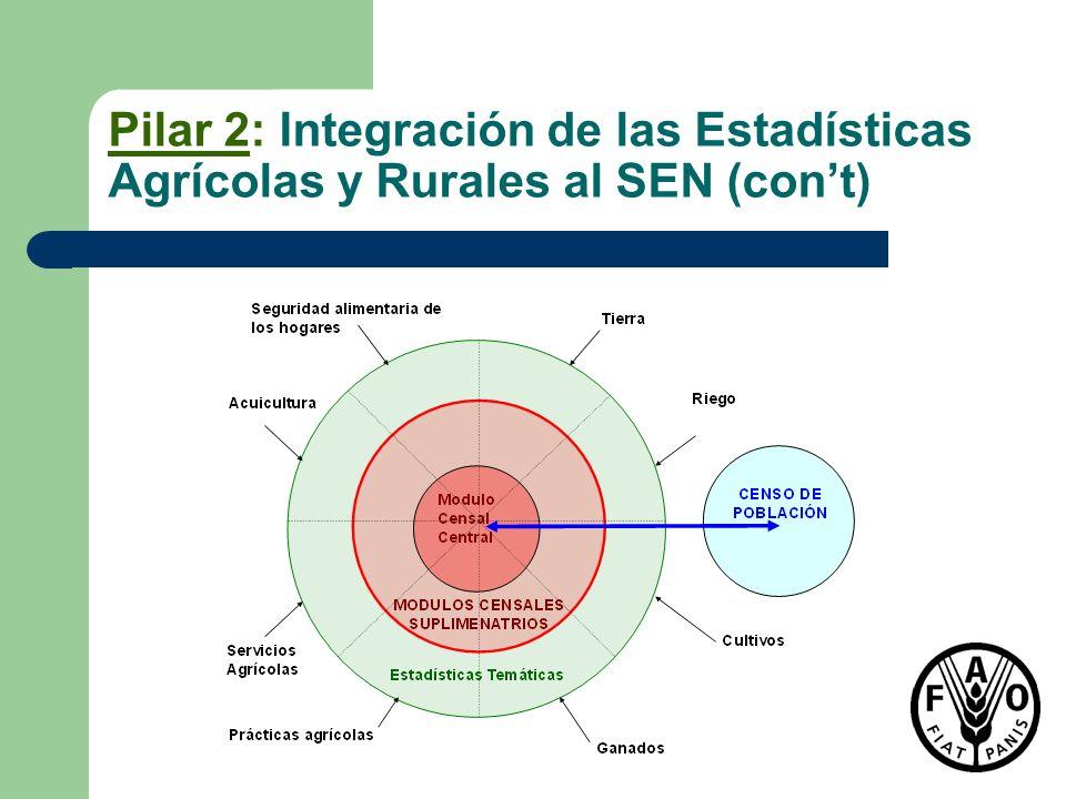 Pilar 2: Integración de las Estadísticas Agrícolas y Rurales al SEN (cont)